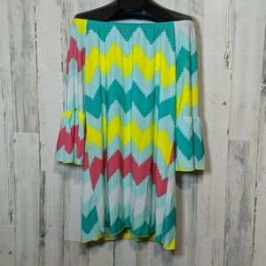 LTX Teal Off Shoulder Chevron Mini Dress Medium